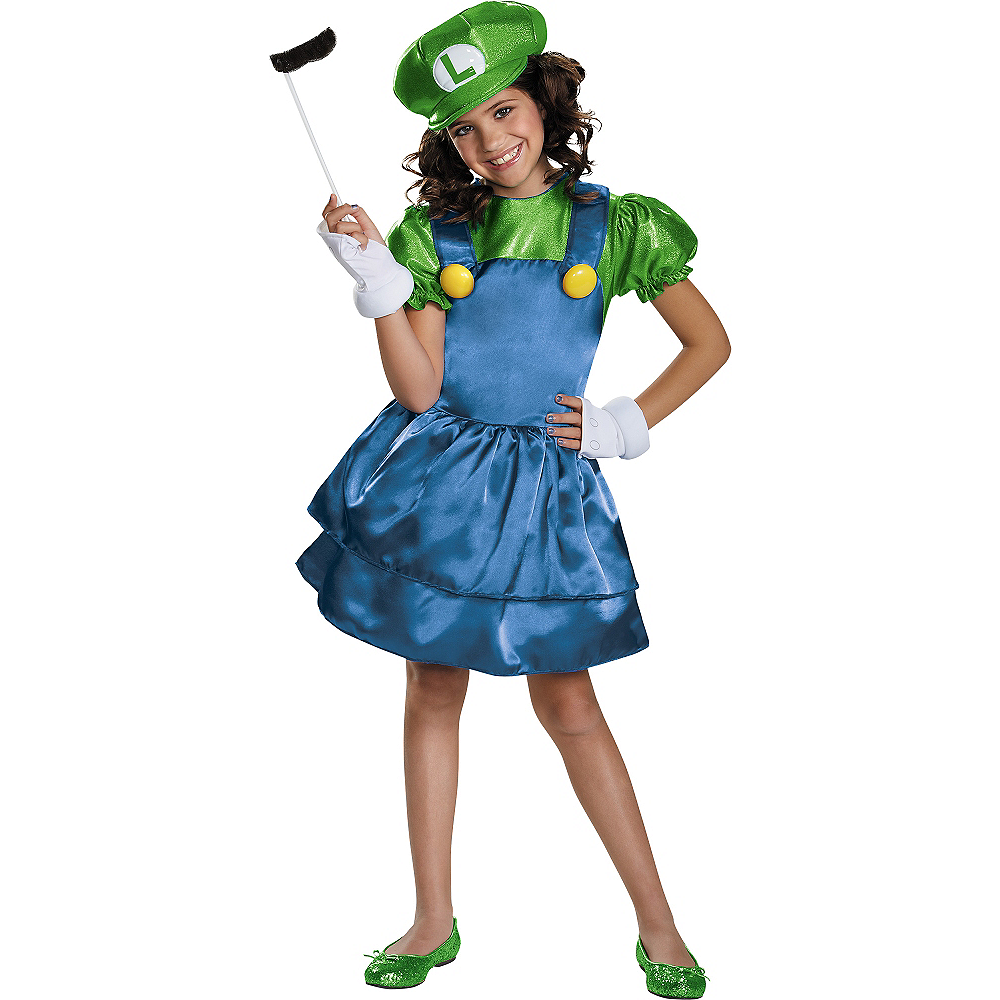 Girls Miss Luigi Costume - Super Mario Brothers Image #1