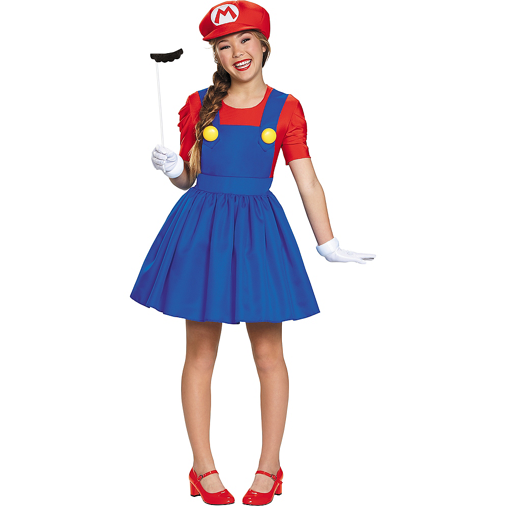 Tween Girls Miss Mario Costume - Super Mario Brothers Image #1