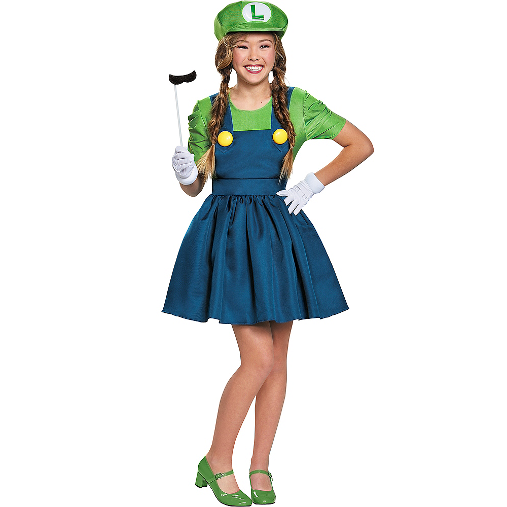 Tween Girls Miss Luigi Costume Super Mario Brothers Party City