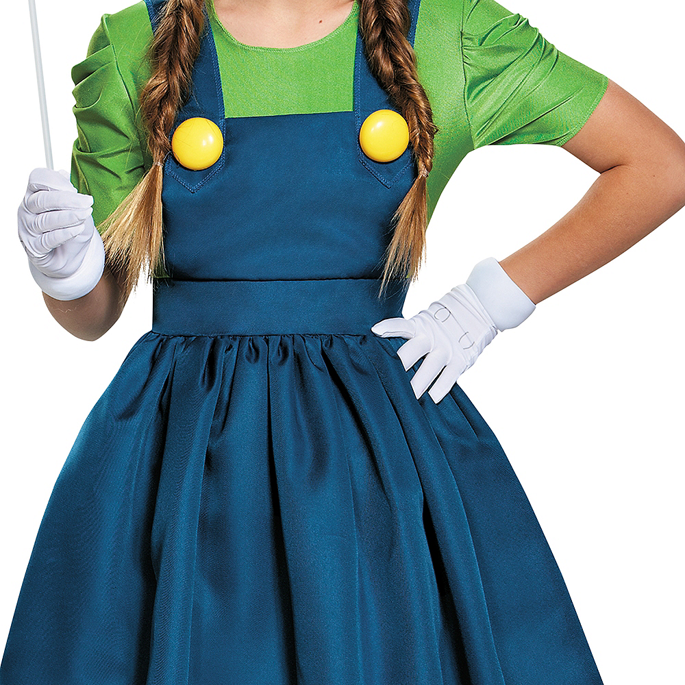 Tween Girls Miss Luigi Costume - Super Mario Brothers Image #5