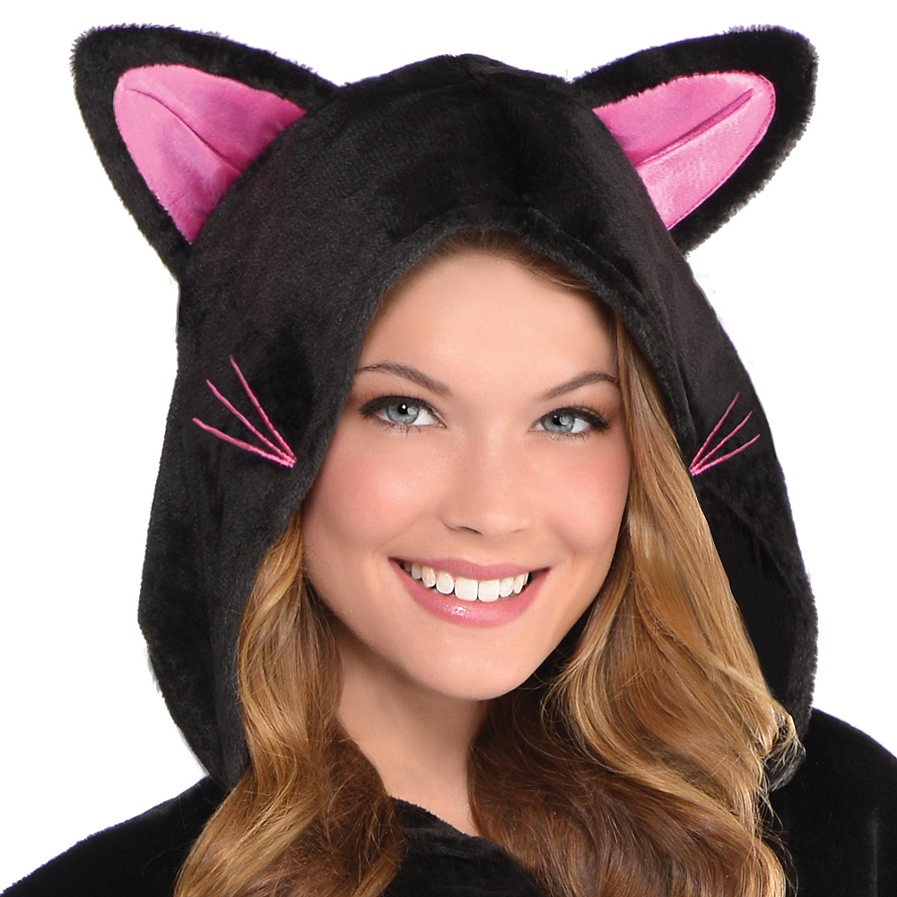 Adult Zipster Black Cat One Piece Costume Image #3