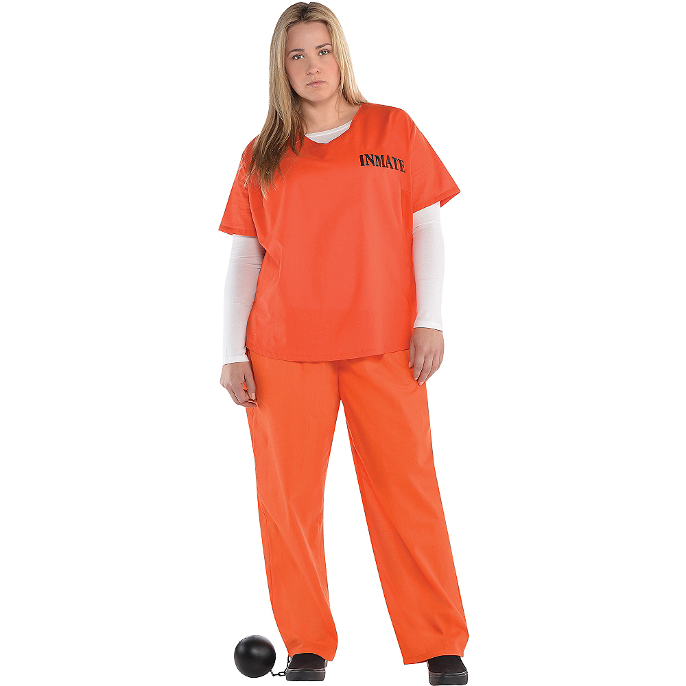 Adult Orange Prisoner Costume Plus Size Image #1