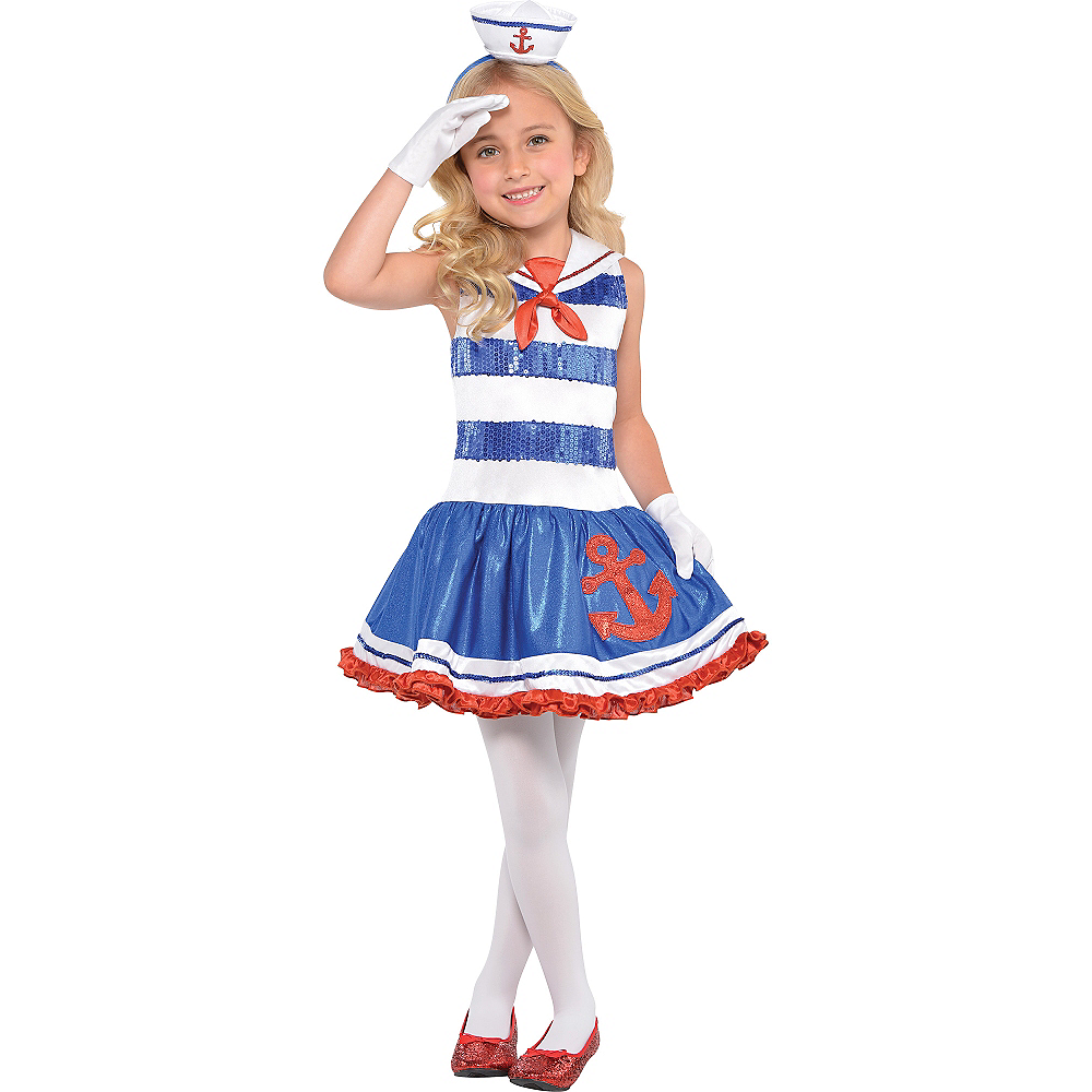Girls Star Spangled Sailor Costume Image #1