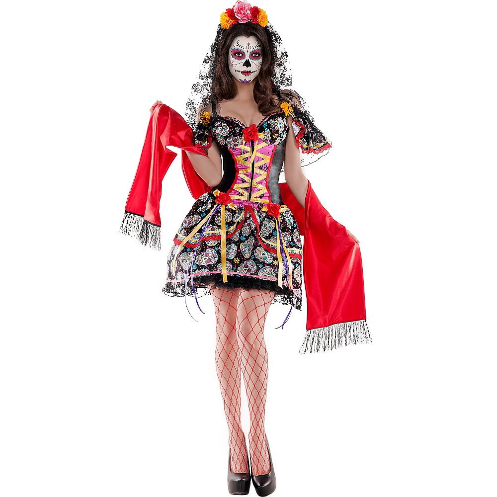Adult La Catrina Sugar Skull Body Shaper Costume - Day of the Dead Image #1