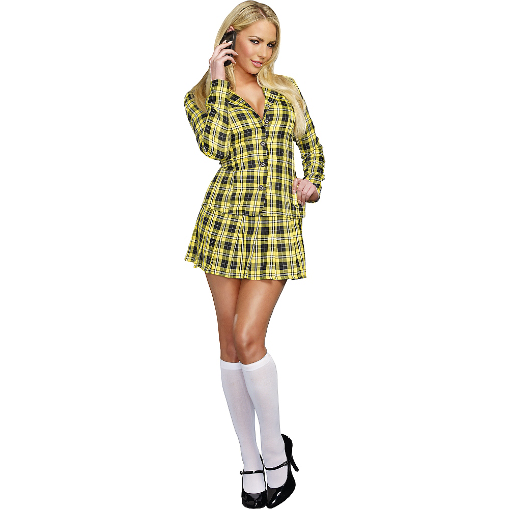 Nav Item for Adult Fancy Yellow Plaid School Girl Costume Image #1