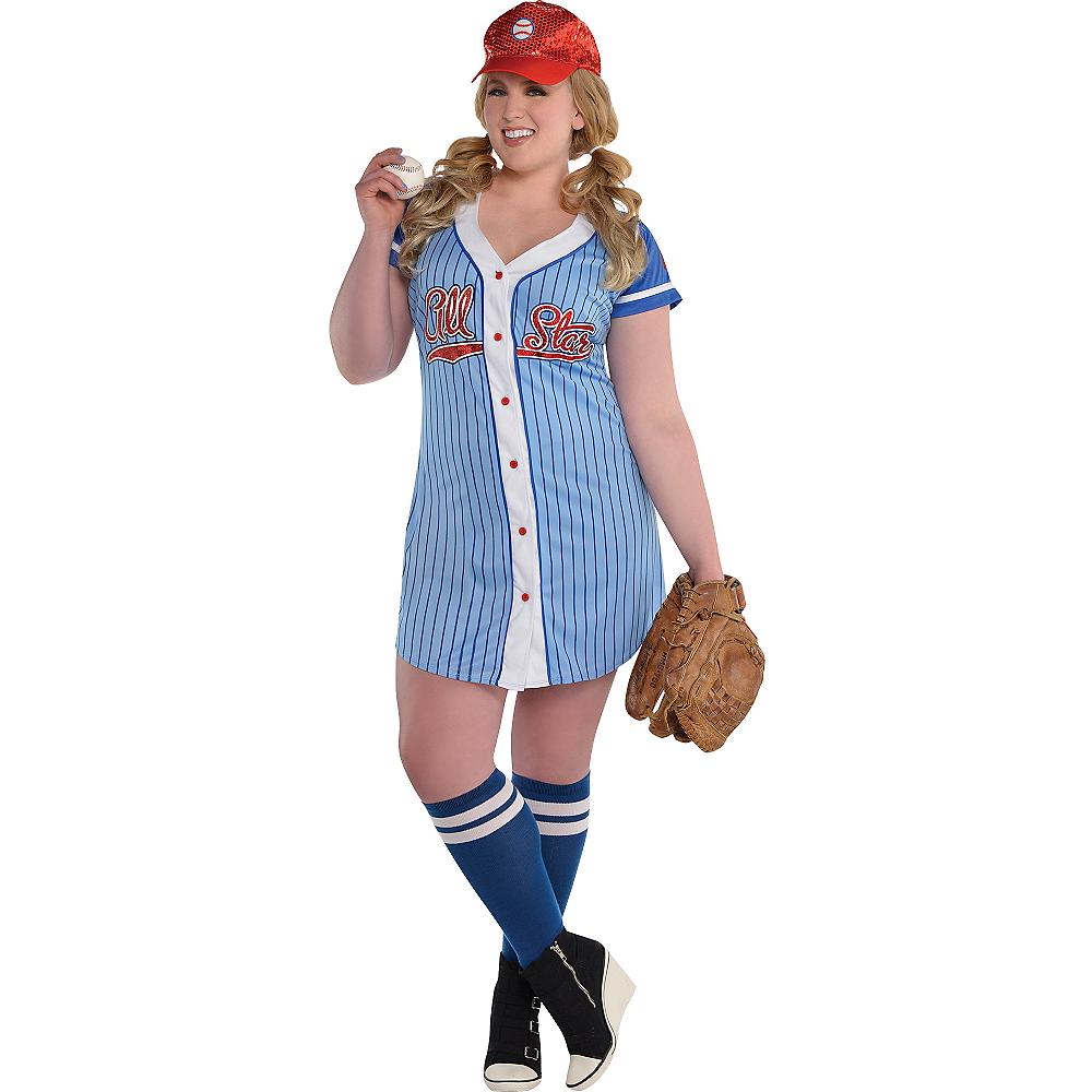 Adult Baseball Babe Costume Plus Size Image #1