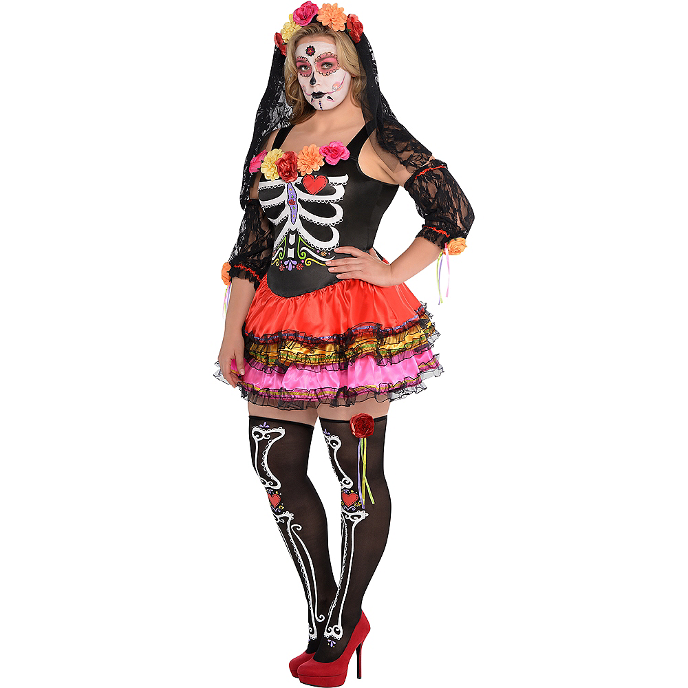 Adult Day of the Dead Senorita Costume Plus Size Image #2