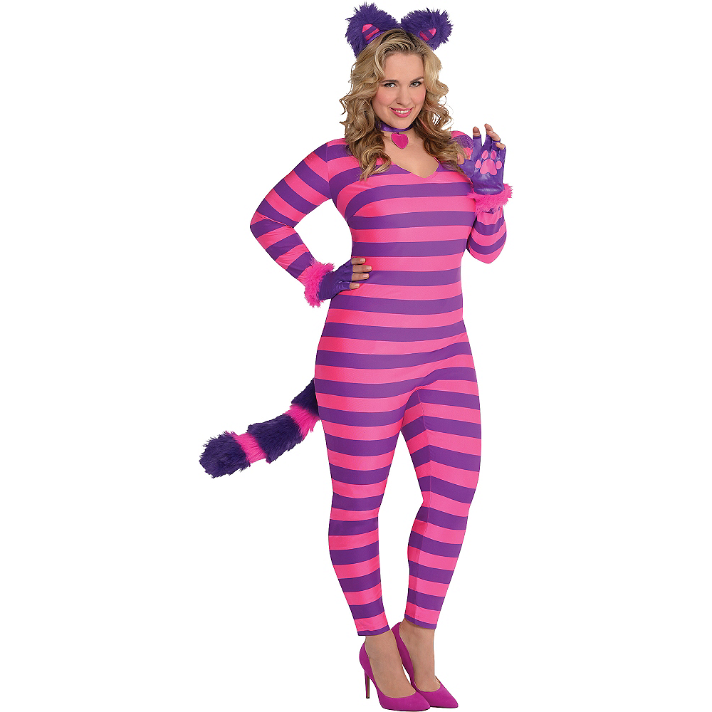 Adult Lady Cheshire Kitty Cat Costume Plus Size Image #1