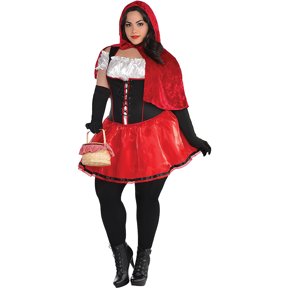 Adult Sassy Red Riding Hood Costume Plus Size Image #1