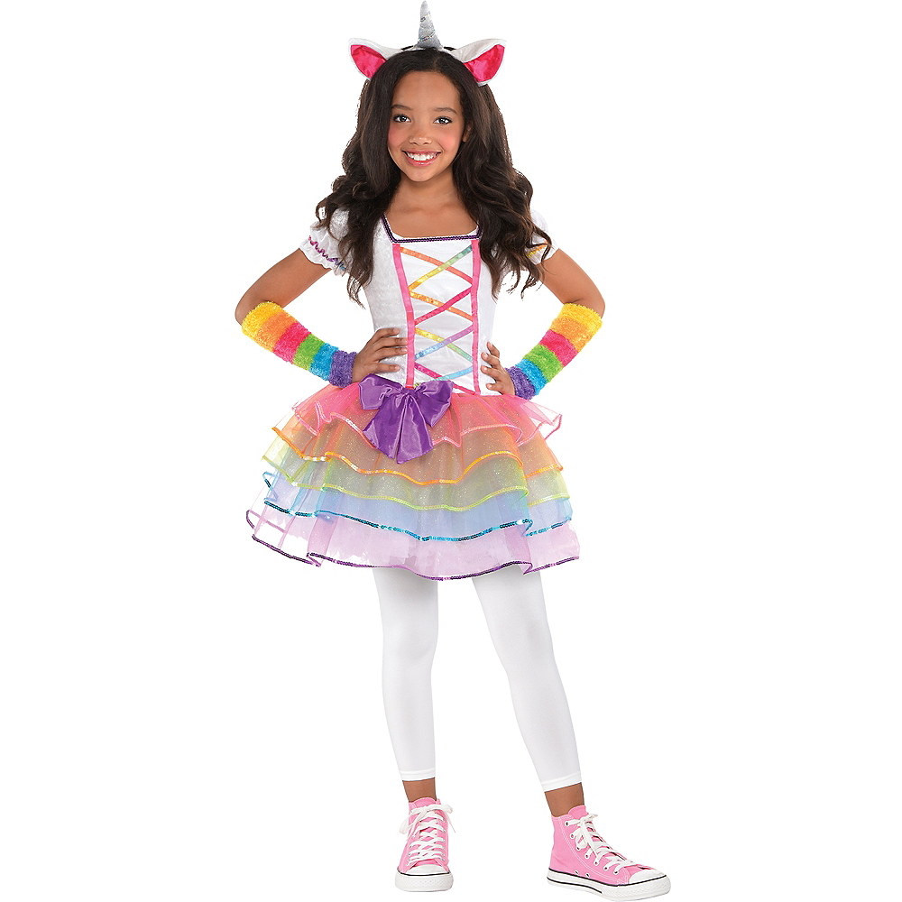 Toddler Girls Rainbow Unicorn Costume Image #1