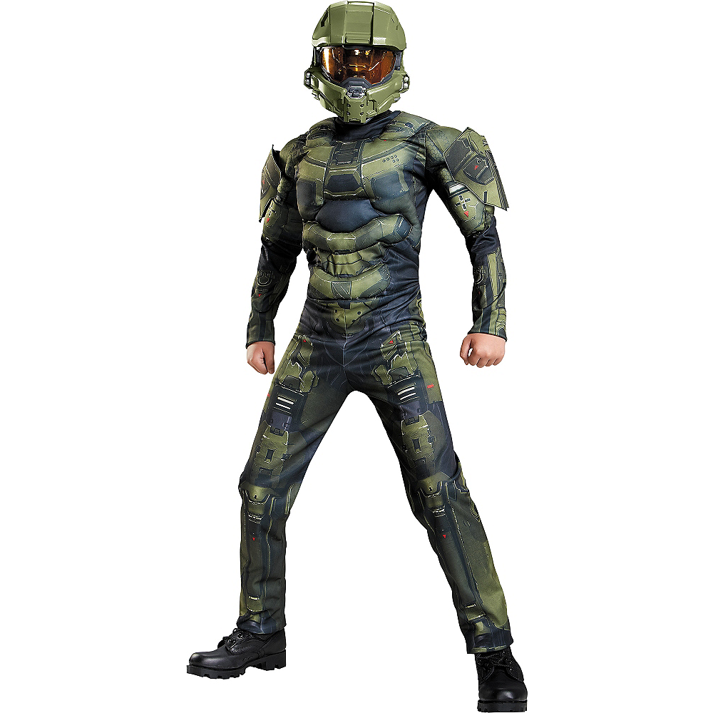 Boys Master Chief Muscle Costume Classic - Halo Image #1
