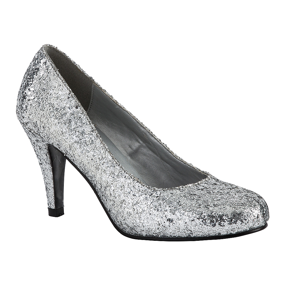 Silver Glitter High Heel Shoes Image #1
