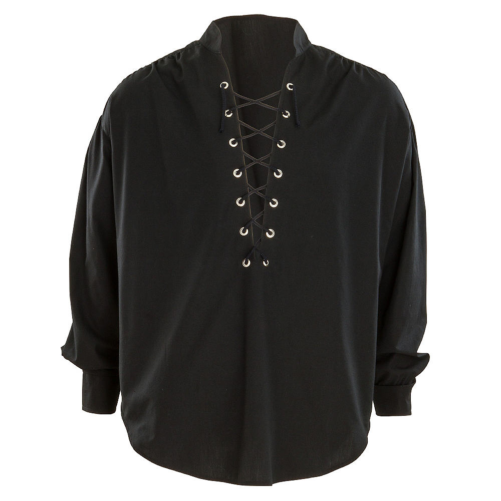 Nav Item for Black Lace-Up Pirate Shirt Image #1