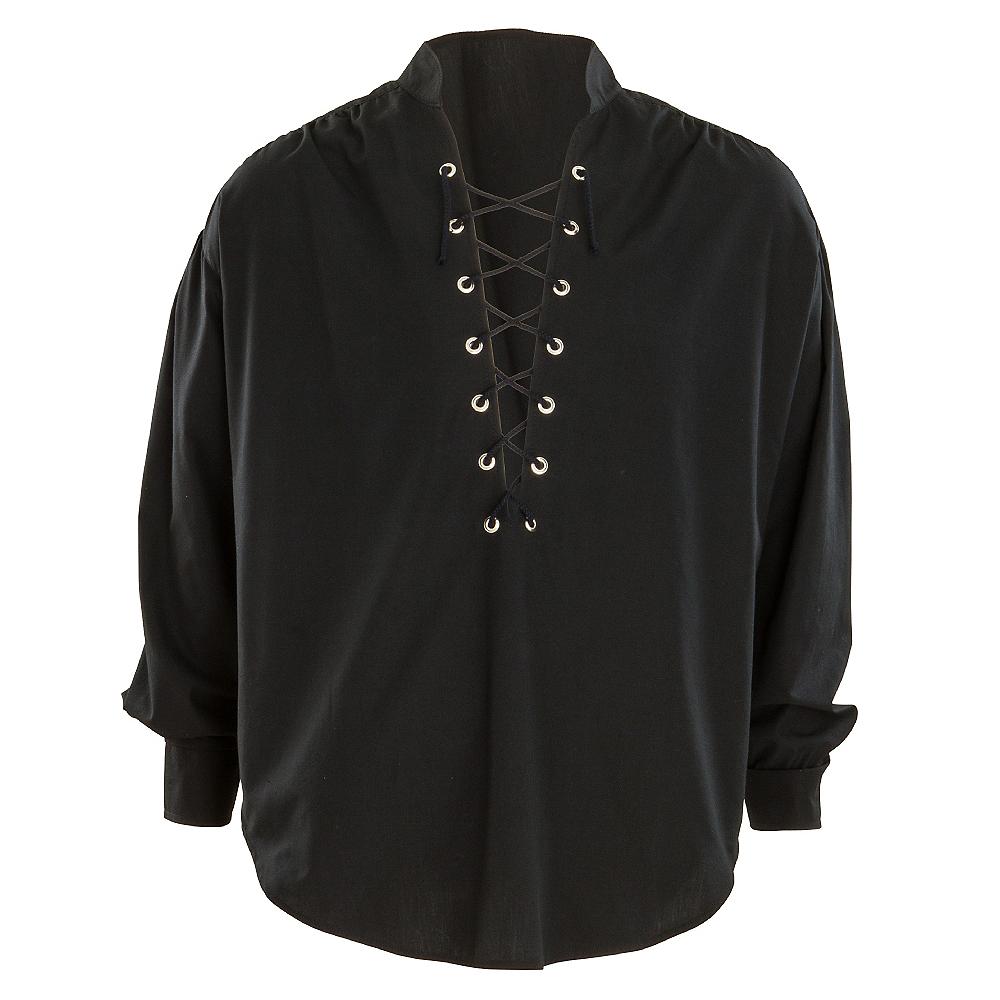 Black Lace-Up Pirate Shirt Image #1