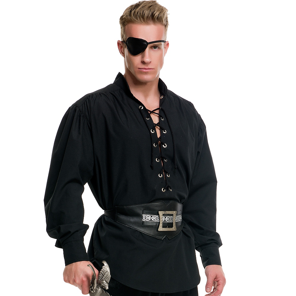Nav Item for Black Lace-Up Pirate Shirt Image #2