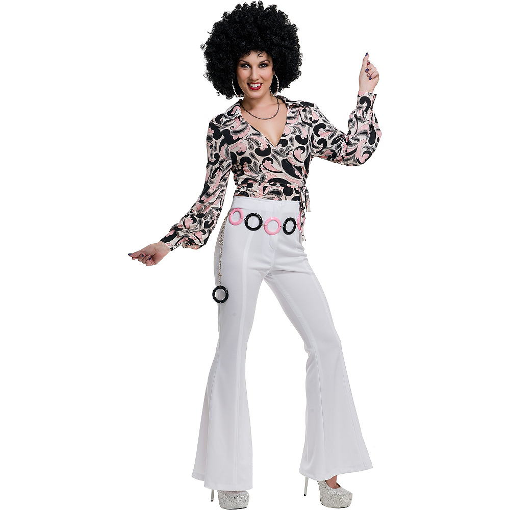 White 70s Disco Pants Image #2