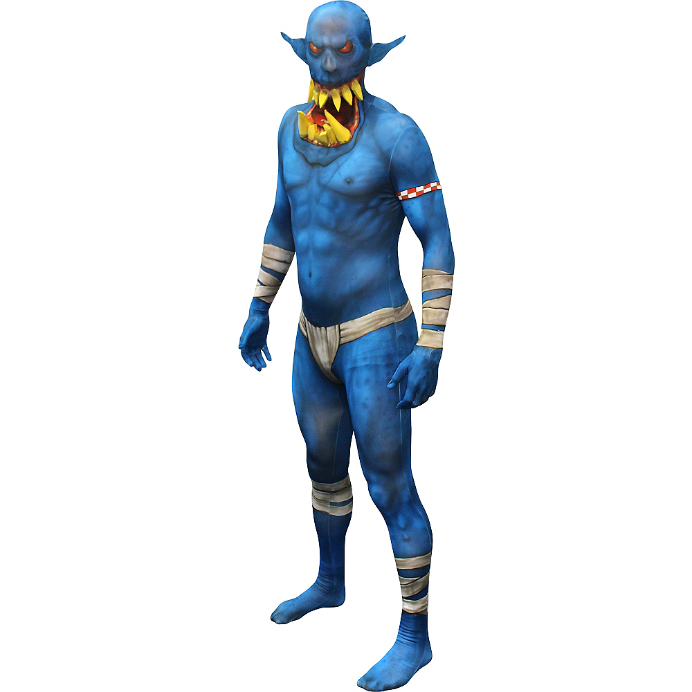 Adult Blue Jaw Dropper Orc Morphsuit Image #1