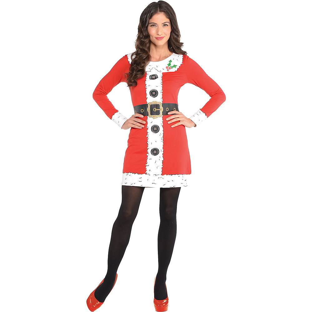 Adult Santa Long-Sleeve Dress Image #1