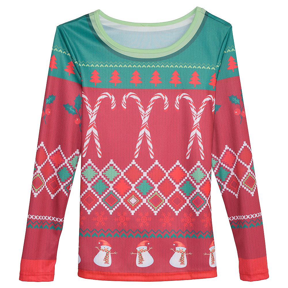 Candy Cane Ugly Christmas Sweater Long-Sleeve Shirt Image #1