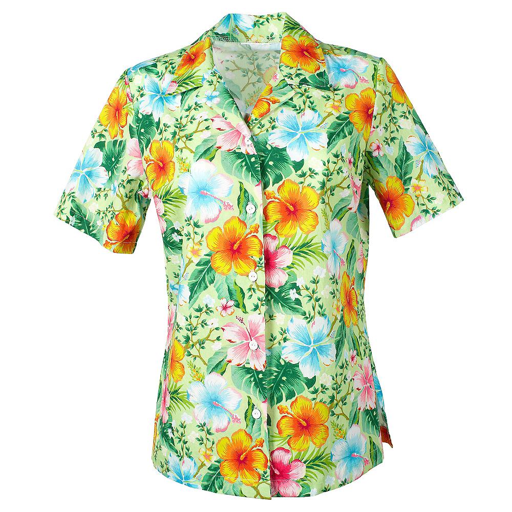 7ff773206fe7 Green Hibiscus Hawaiian Shirt | Party City