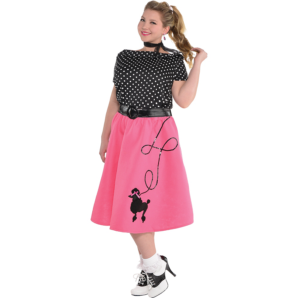 Nav Item for Adult 50s Flair Poodle Skirt Costume Plus Size Image #1