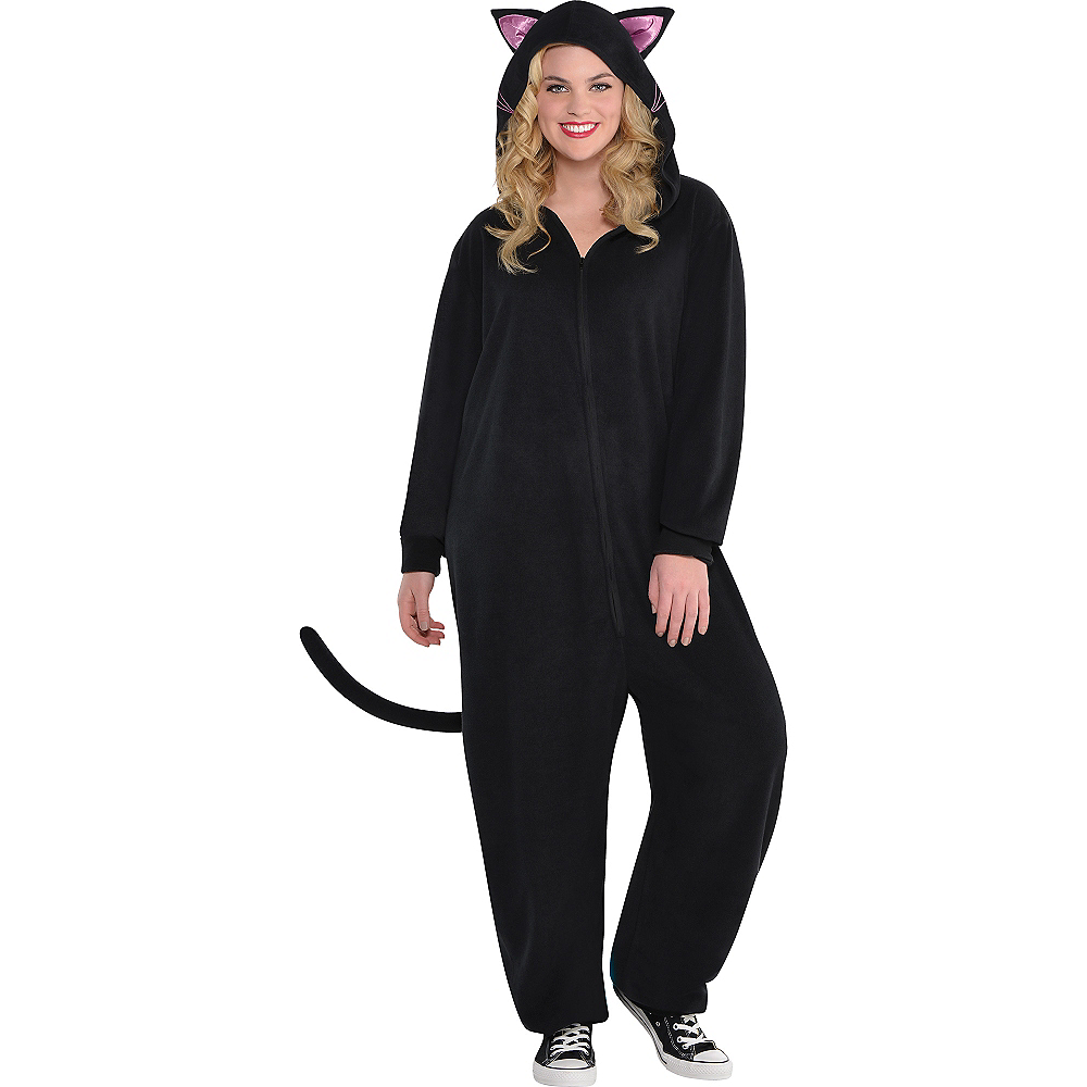 Adult Zipster Black Cat One Piece Costume Plus Size Image #1