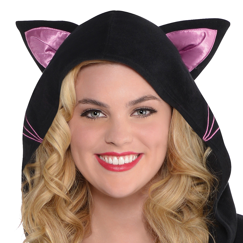 Adult Zipster Black Cat One Piece Costume Plus Size Image #3