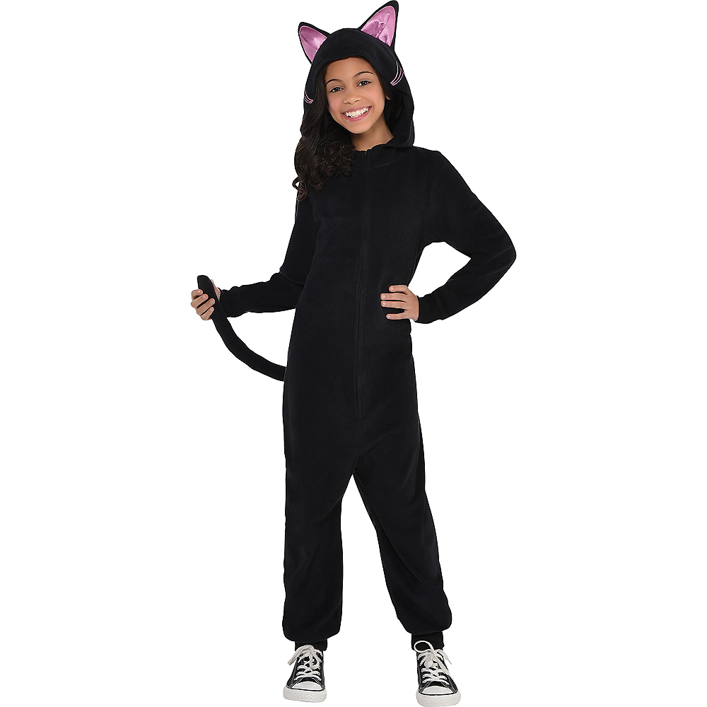 Girls Zipster Black Cat One Piece Costume Image #1