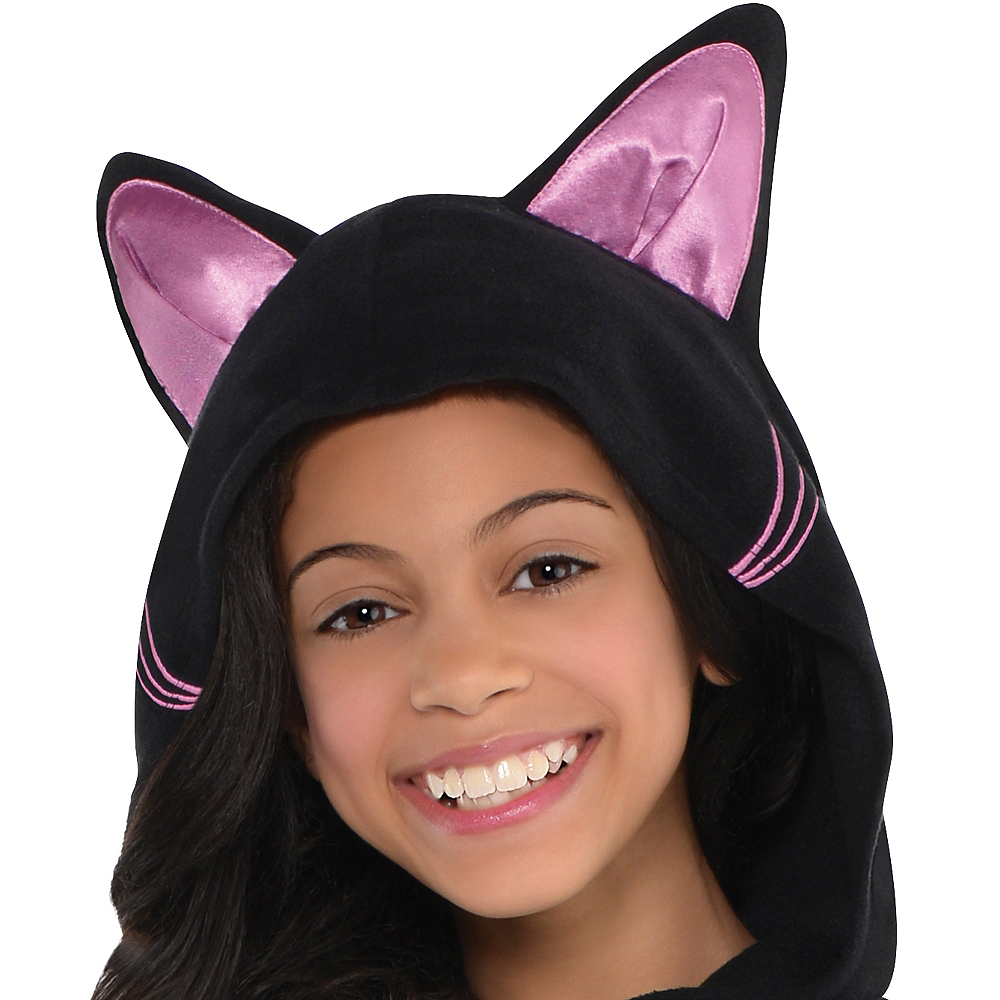 Girls Zipster Black Cat One Piece Costume Image #2