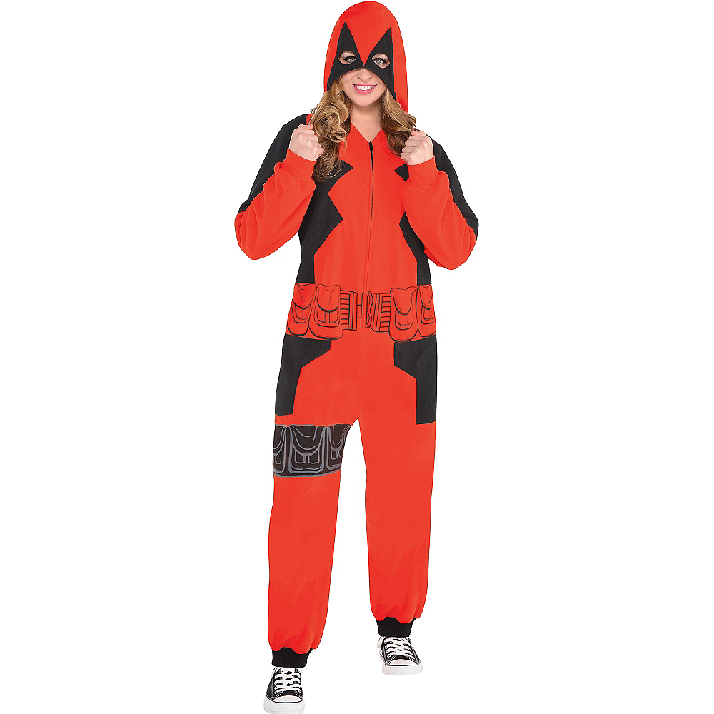 Adult Zipster Deadpool One Piece Costume Image #2