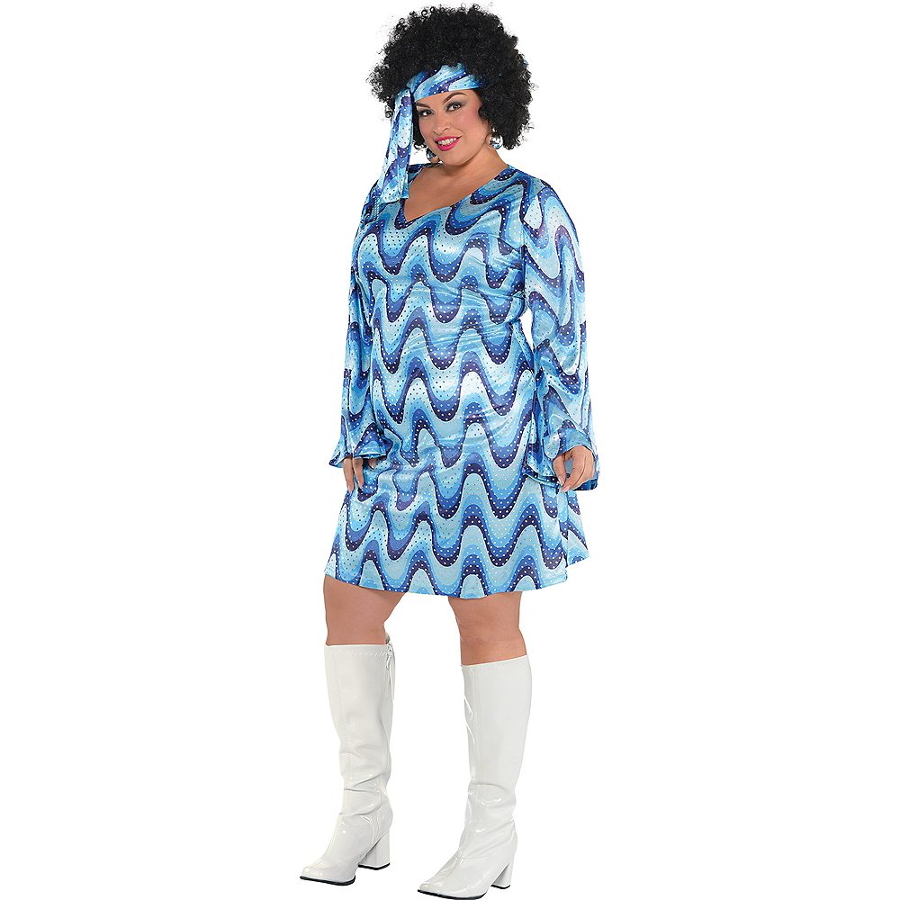 Nav Item for Adult Blue Disco Costume Plus Size Image #1