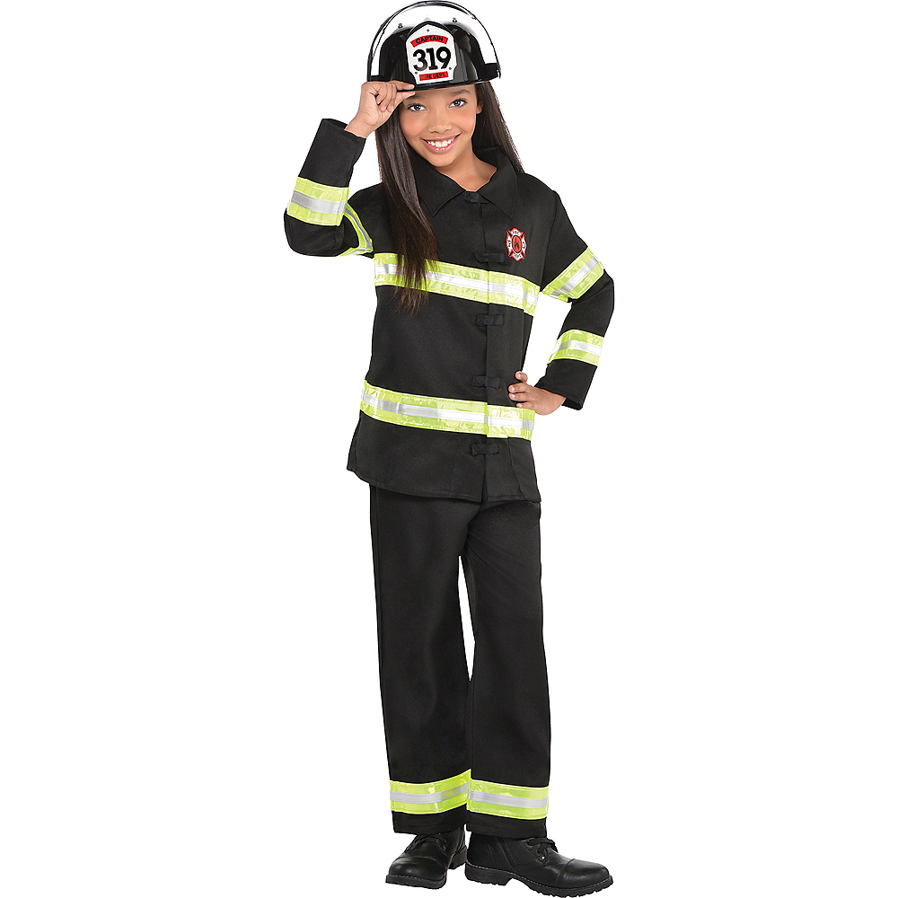 Girls Reflective Firefighter Costume Image #1