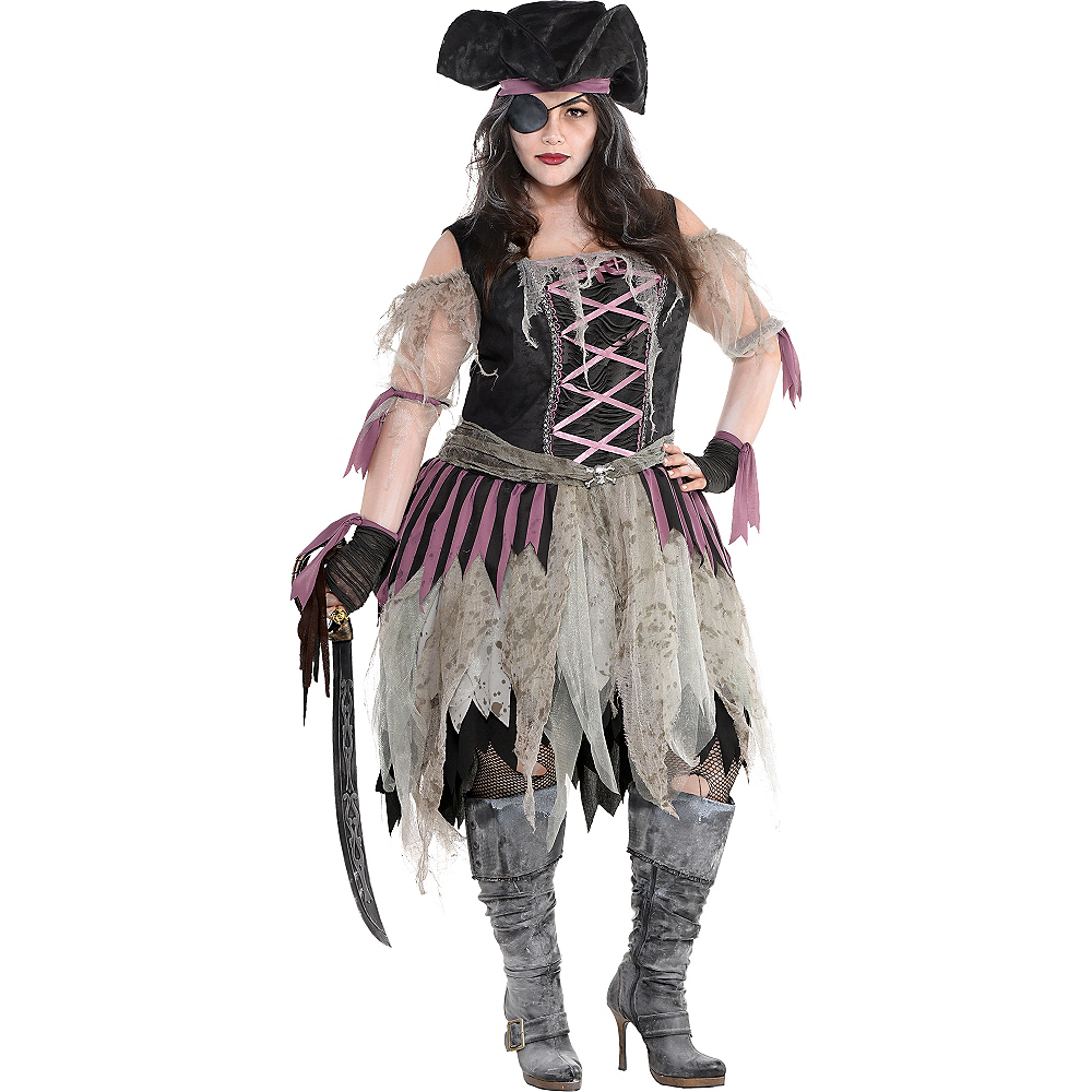 Nav Item for Adult Haunted Pirate Costume Plus Size Image #1