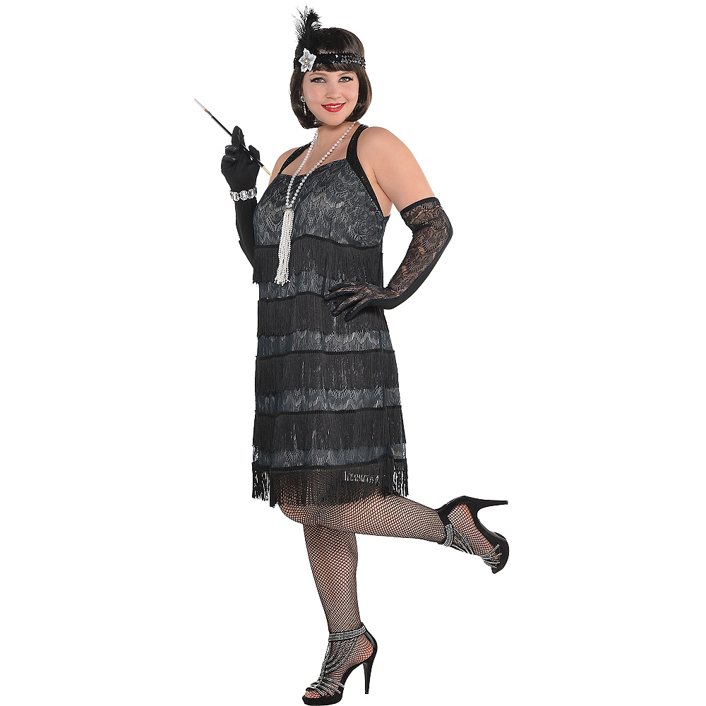 Adult Black Lace Flapper Costume Plus Size Image #1