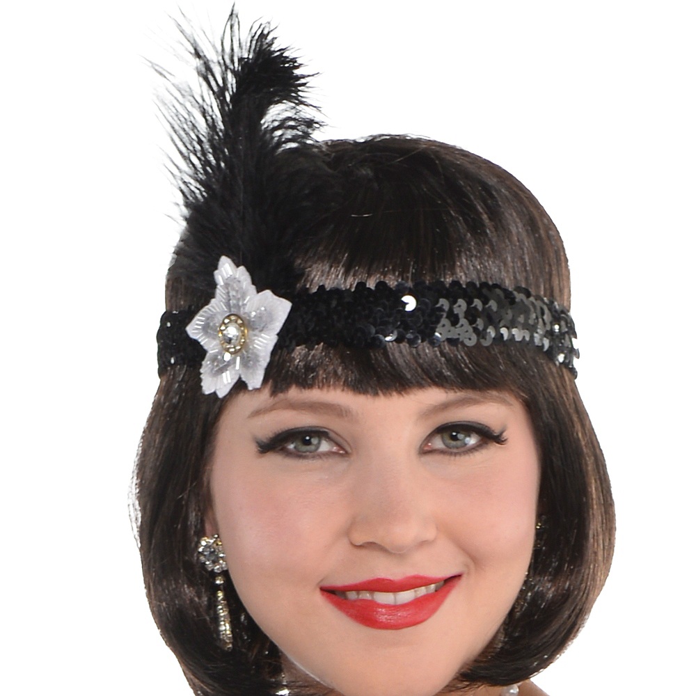 Nav Item for Adult Black Lace Flapper Costume Plus Size Image #2