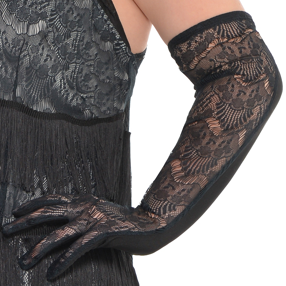 Adult Black Lace Flapper Costume Plus Size Image #4