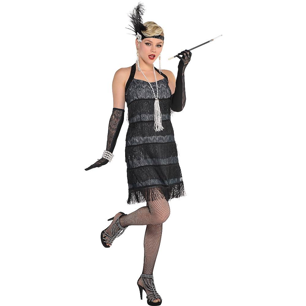Adult Black Lace Flapper Costume