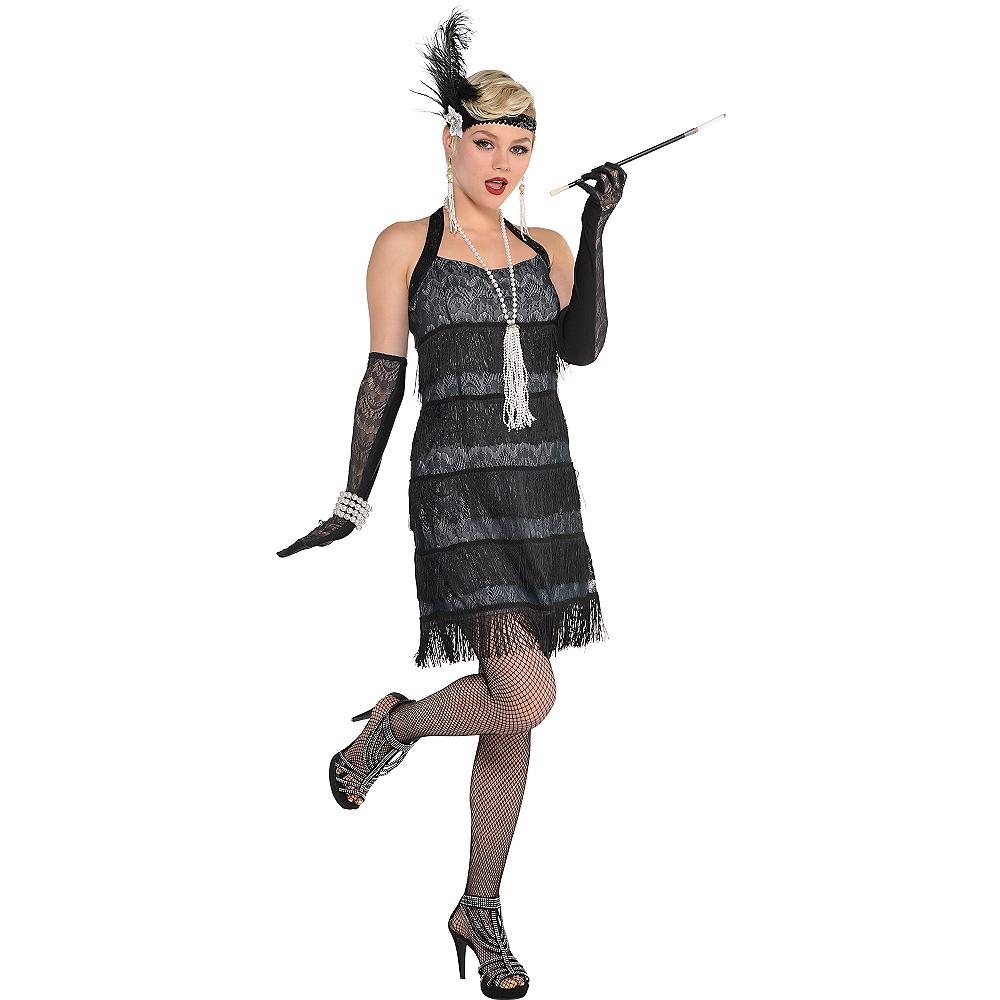 Adult Black Lace Flapper Costume Image #1