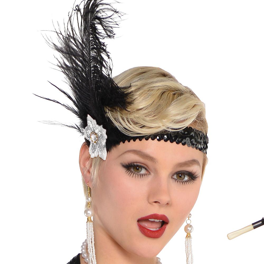 Adult Black Lace Flapper Costume Image #2