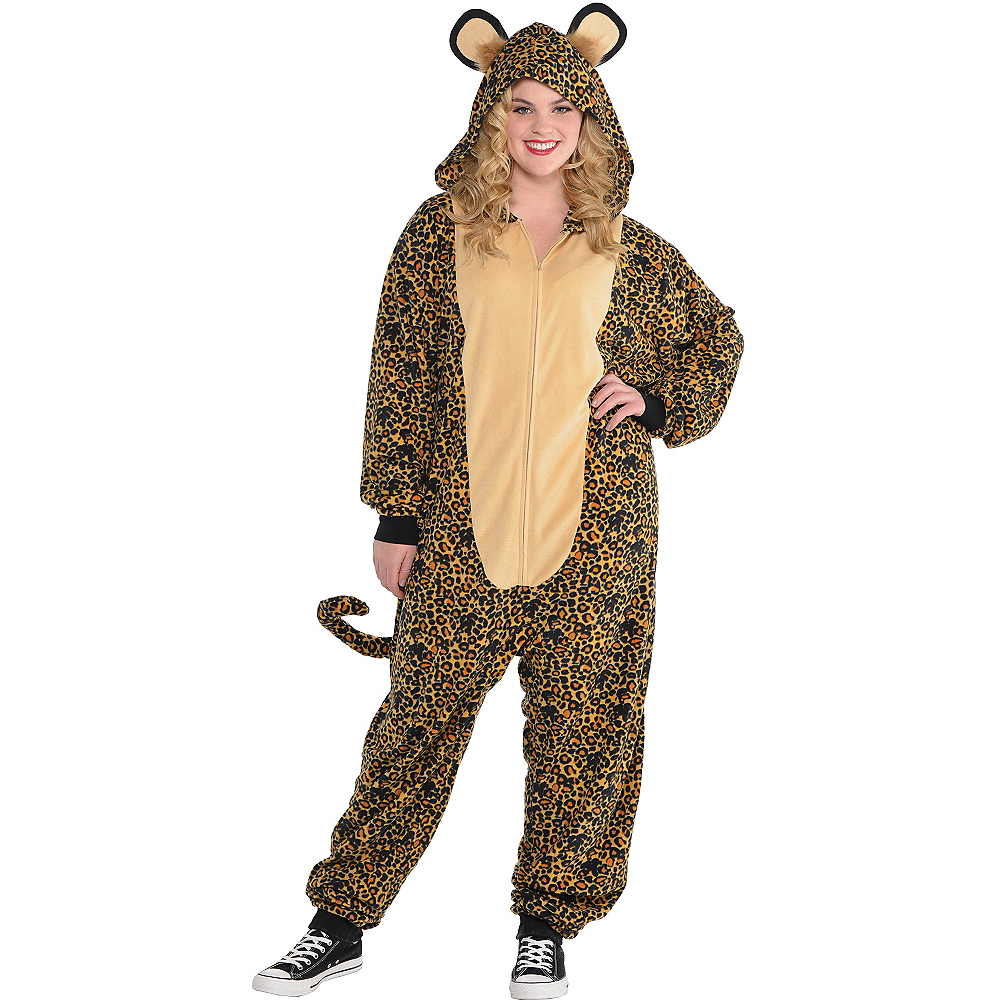 Adult Zipster Leopard One Piece Costume Plus Size Image #1