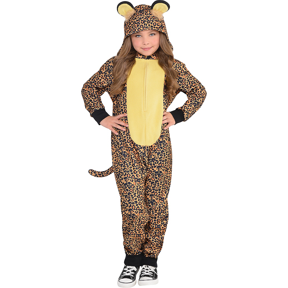 Girls Zipster Leopard One Piece Costume Image #1