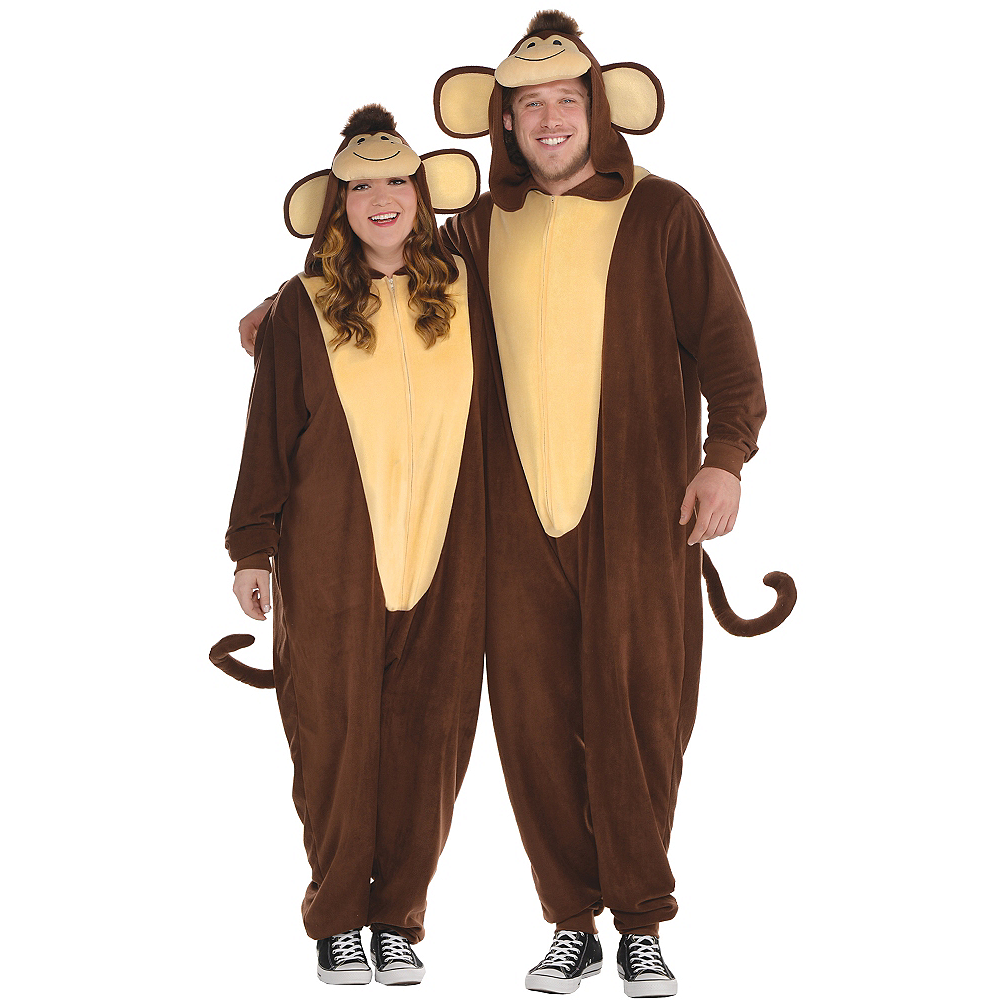 Adult Zipster Monkey One Piece Costume Plus Size Image #1