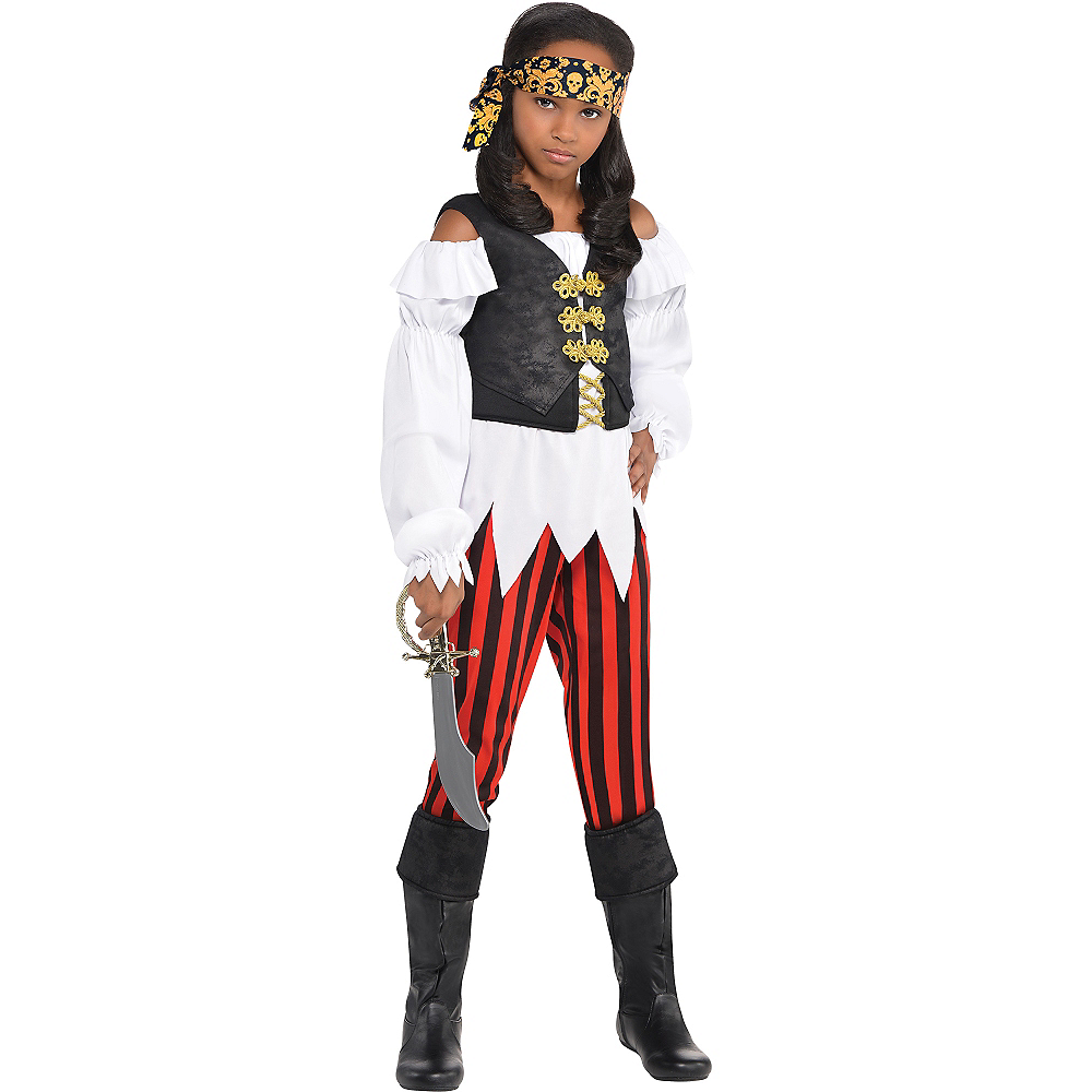 Nav Item for Girls Pretty Scoundrel Pirate Costume Image #1