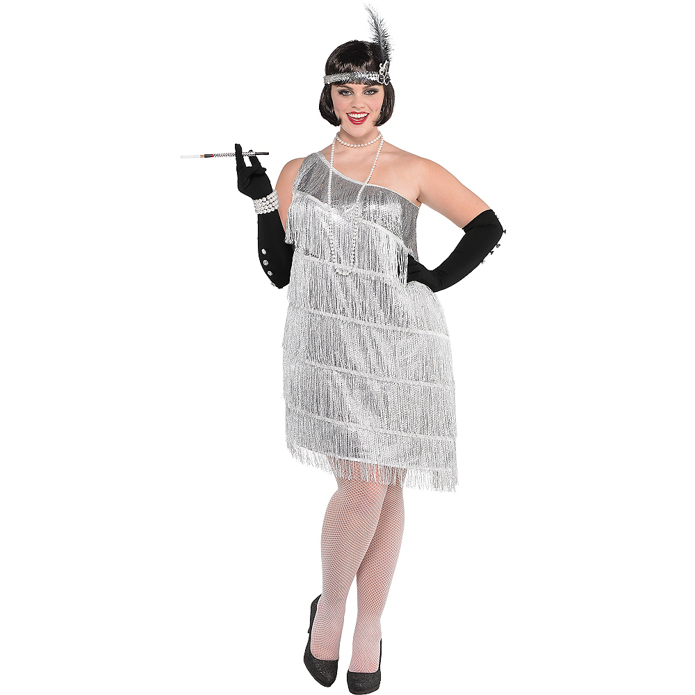 Adult Sparkling Silver Flapper Costume Plus Size Image #1