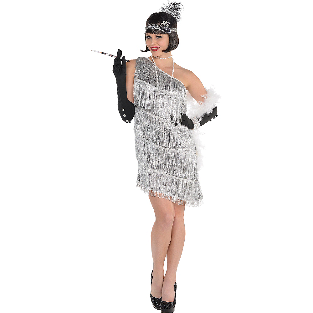 Nav Item for Adult Sparkling Silver Flapper Costume Image #1
