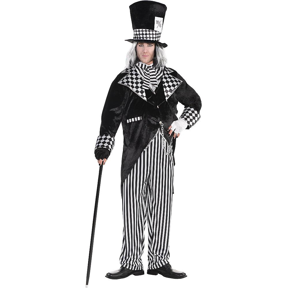 Adult Black & White Mad Hatter Costume Plus Size Image #1