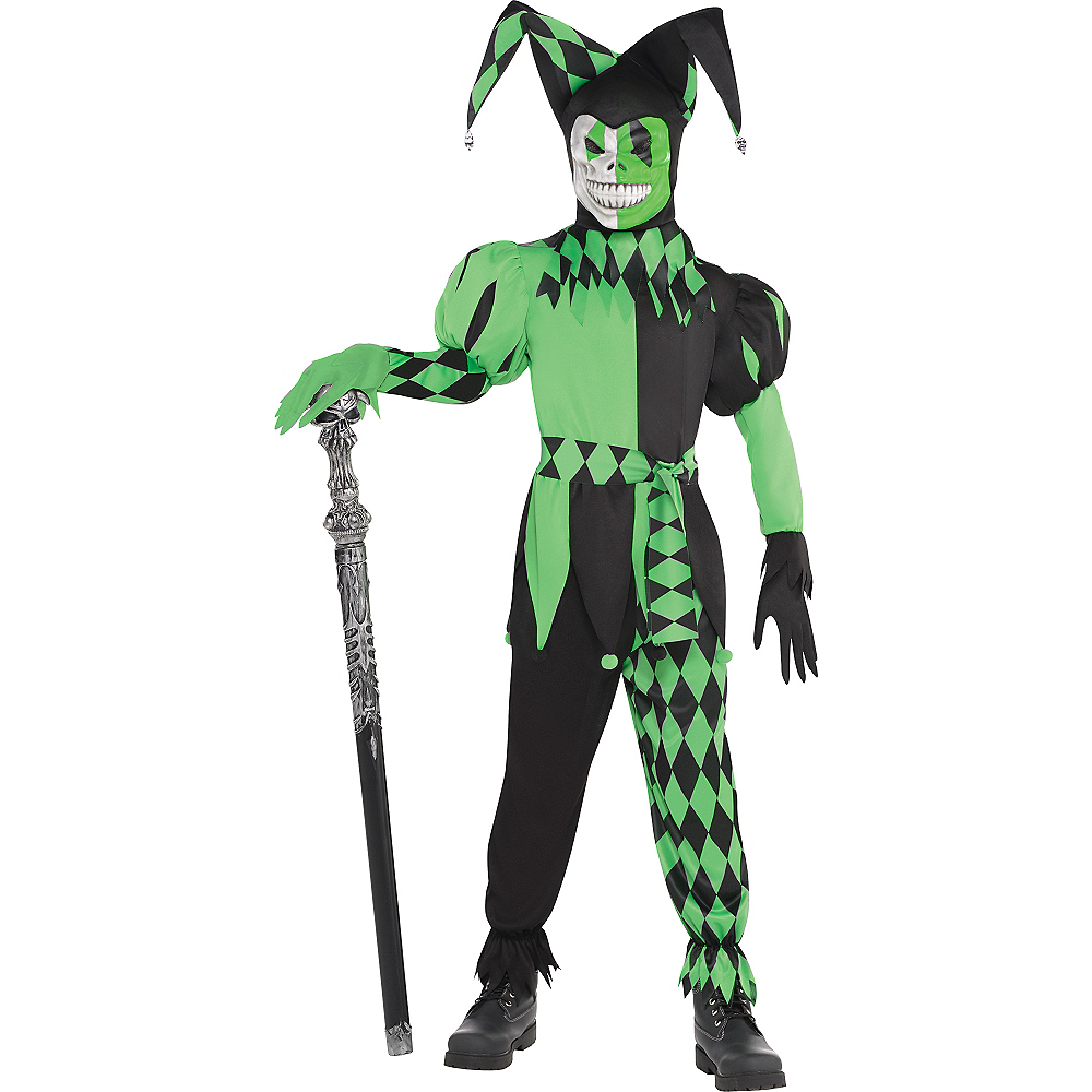 Boys Green Wicked Jester Costume Image #1