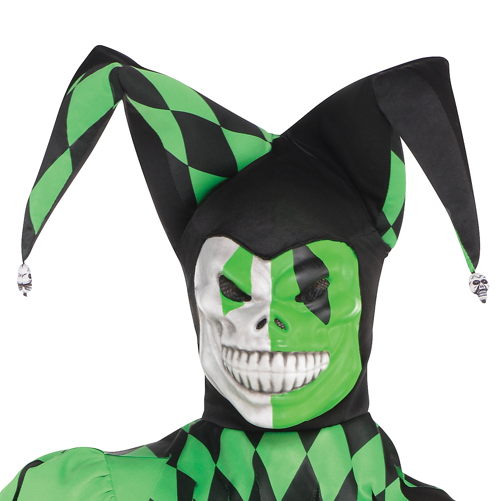 Nav Item for Boys Green Wicked Jester Costume Image #2