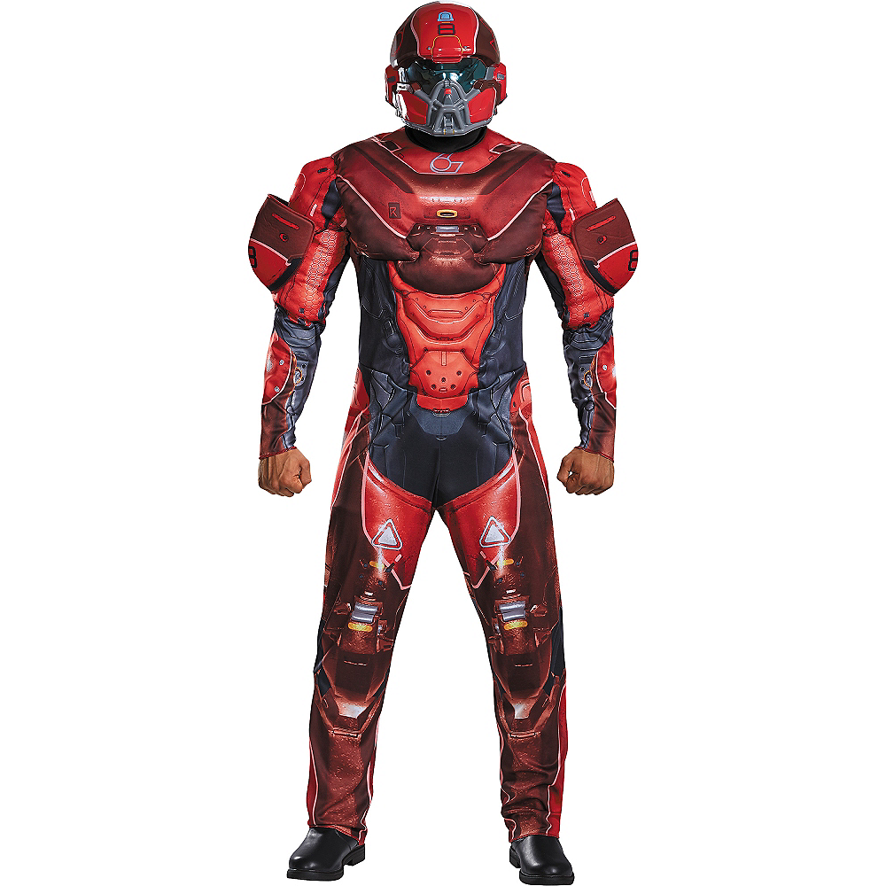 Adult Red Spartan Muscle Costume - Halo Image #1