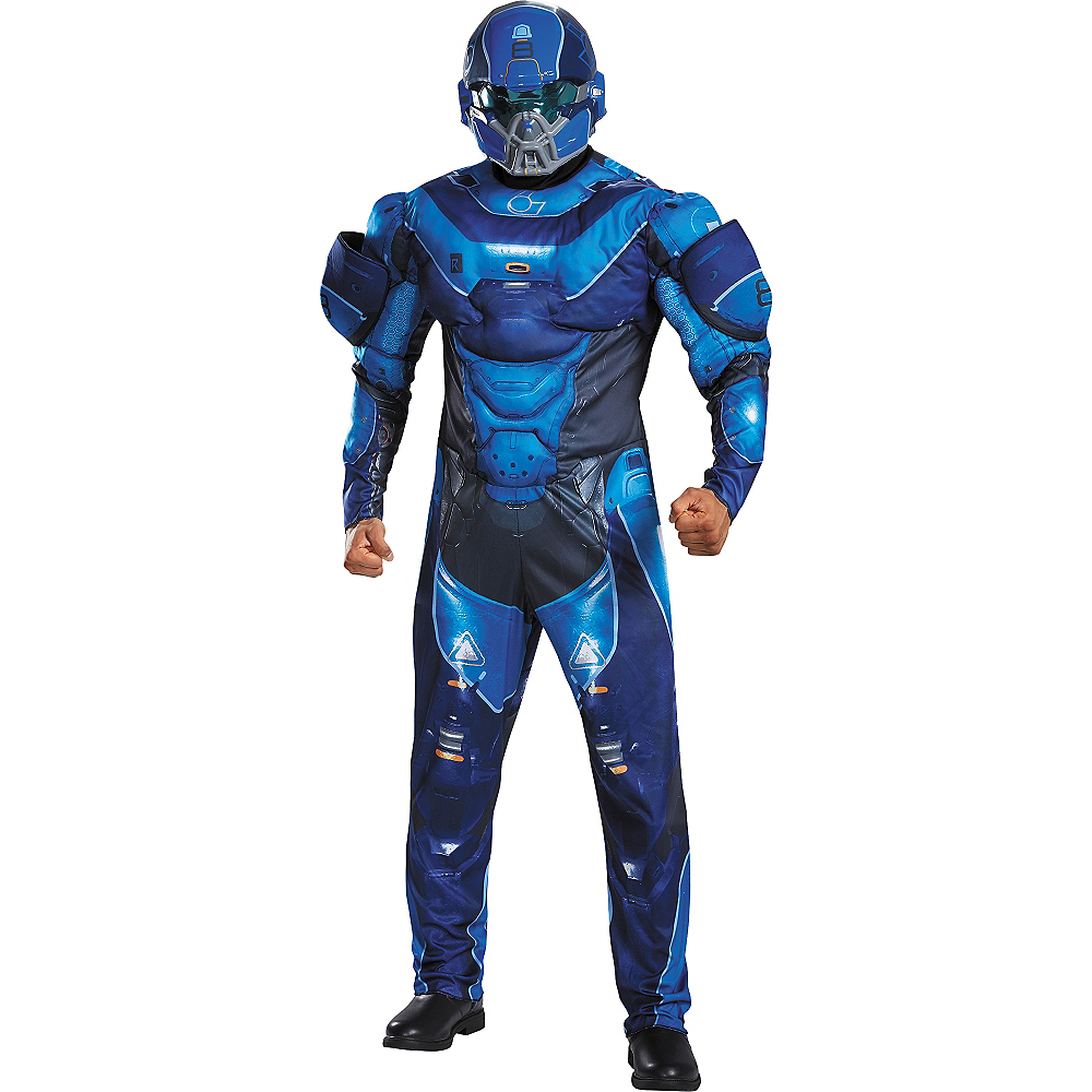 Adult Blue Spartan Muscle Costume Plus Size - Halo Image #1